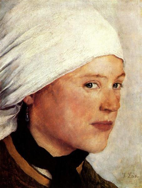 Bauernmädchen mit weißem Kopftuch, 1876 - Wilhelm Leibl
