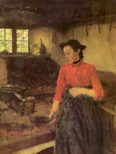 Mädchen am Herd, 1895 - Вильгельм Лейбль