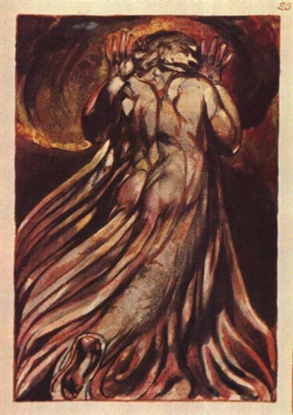 A white haired man in a long, pale robe who flees from us with his hands raised, 1794 - William Blake
