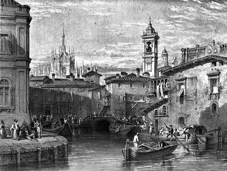 Boat scene at Milan, drawing by Leitch, engraving by T. Higham, 1845 - William Leighton Leitch
