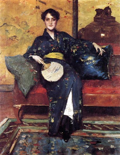 The Blue Kimono, aka Girl in Blue Kimono, c.1898 - William Merritt Chase