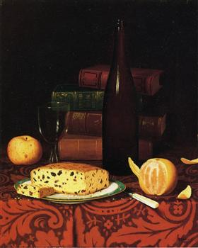 Still Life with Raisin Cake, Fruit and Wine - William Michael Harnett