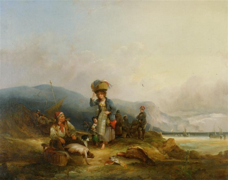 Fisherfolk and Their Catch by the Sea - William Shayer