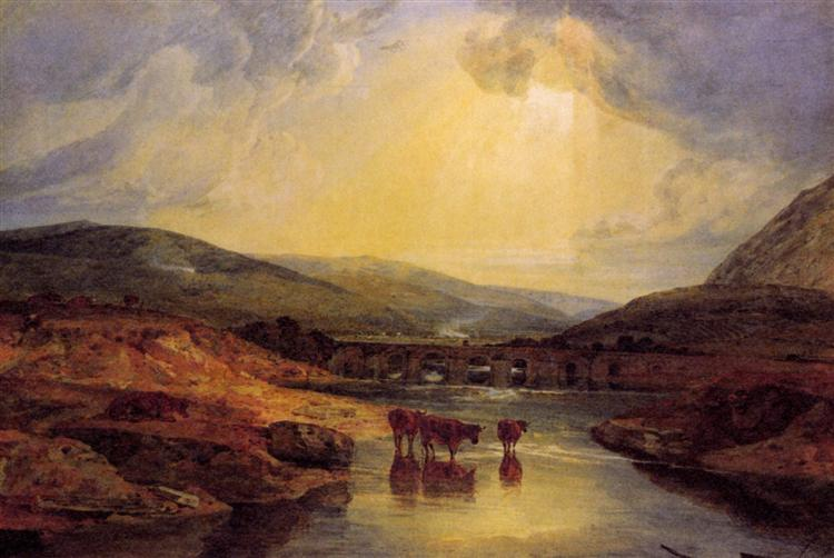 Abergavenny Bridge, Monmountshire -clearing up after a showery day - J.M.W. Turner