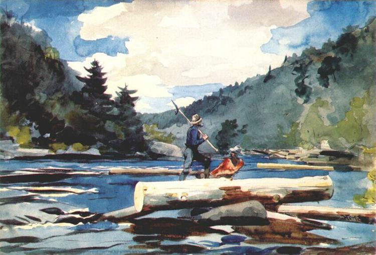 Hudson river, logging - Homer Winslow