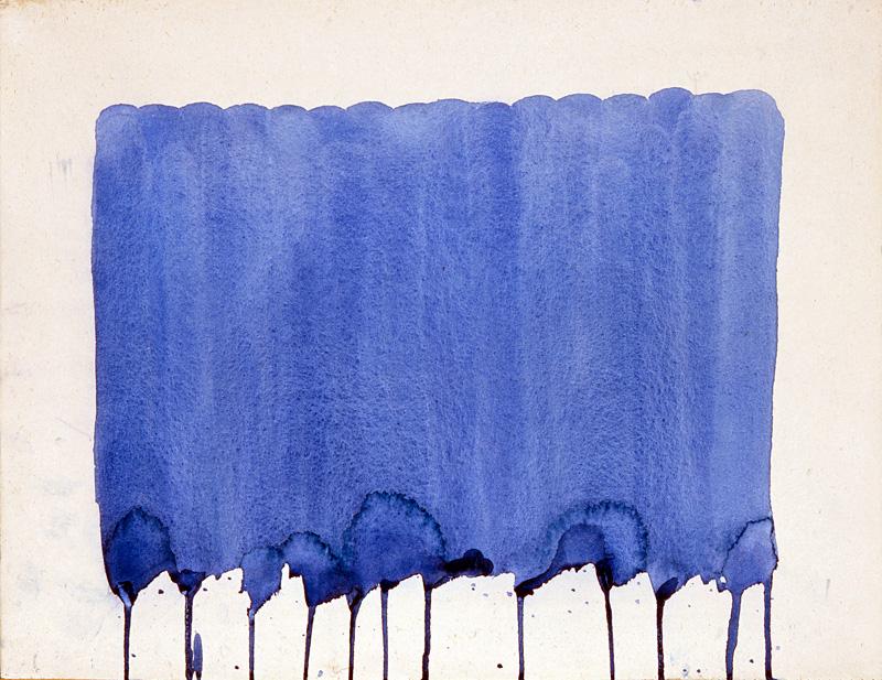 Surface peinte en bleu, avec traces de coulures de la peinture