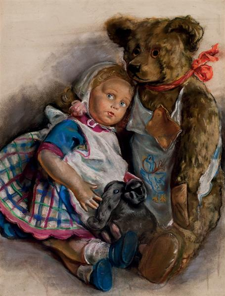 The Popoffs' doll, teddy bear and toy elephant, 1947 - Zinaida Serebriakova